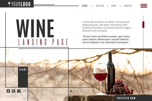 Modello di pagina di destinazione del vino