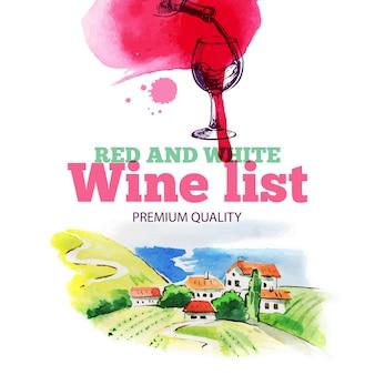 Lista dei vini. schizzo disegnato a mano e illustrazione dell'acquerello. progettazione del menu