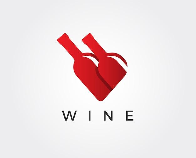 Il design del logo del vino con il modello del segno del cuore