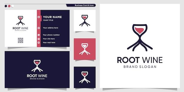 Modello di logo del vino con concetto di radice creativo e design di biglietti da visita vettore premium