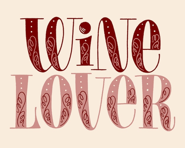 Testo dell'iscrizione della mano dell'amante del vino per il festival del vigneto della cantina del ristorante