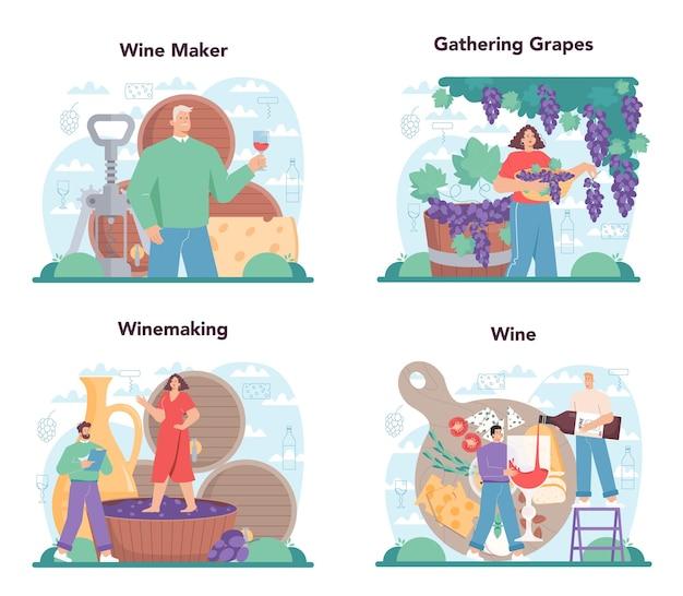 Insieme di concetto del produttore di vino. vino d'uva in botte di legno, bottiglia di vino rosso