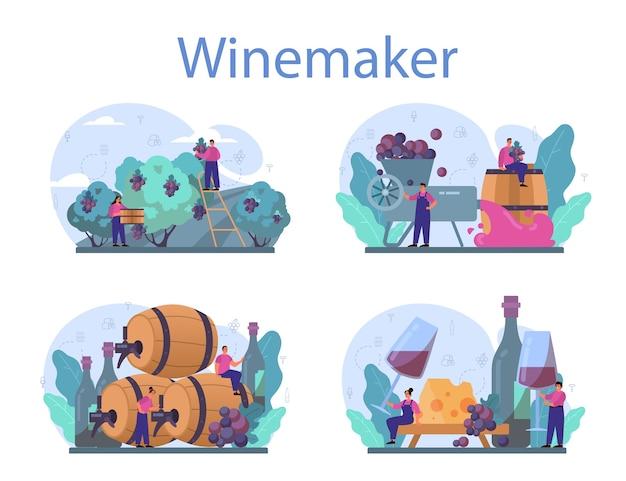 Insieme di concetto del produttore di vino.