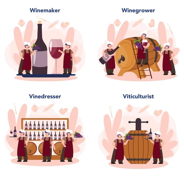 Insieme di concetto del produttore di vino