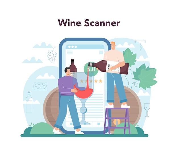 Servizio online di enologo o piattaforma vino d'uva in botte