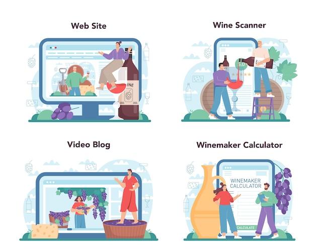 Servizio online di enologo o piattaforma per impostare il vino d'uva in una botte