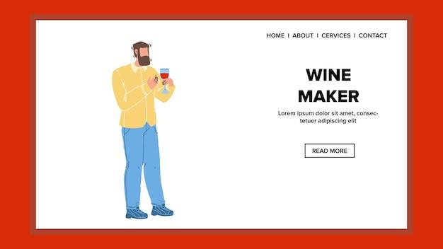 Enologo presente cantina prodotto alcolico vettore. wine maker man holding wineglass con alcol bevanda di uva. personaggio enologo tenere il bicchiere con bevanda web piatto fumetto illustrazione Vettore Premium