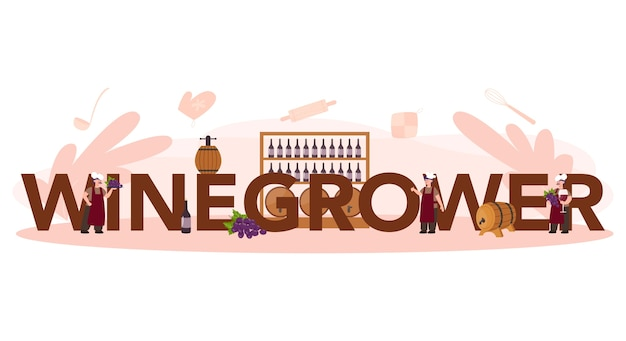 Concetto di intestazione tipografica del produttore di vino