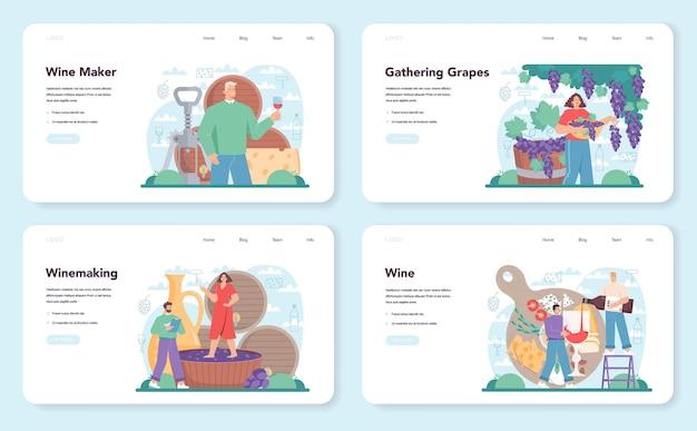 Banner web enologo o pagina di destinazione imposta vino d'uva in una botte di legno
