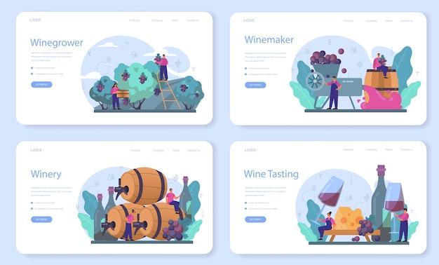 Modello web per vinificatore o set di pagine di destinazione. vino d'uva in botte di legno. sviluppo delle ricette, esposizione e campionamento, selezione delle uve. illustrazione vettoriale isolato