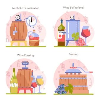 Insieme di concetto di produzione di vino. vino d'uva in bottiglia o bicchiere. bevanda alcolica