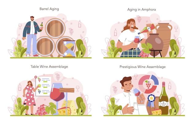 Insieme di concetto di produzione di vino. affinamento del vino in botte di legno o anfora di argilla. assemblaggio delle caratteristiche della bevanda alcolica da tavola e prestigiosa. vino d'uva in bottiglia o bicchiere. illustrazione vettoriale piatta