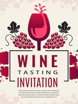 Poster retrò di vino. immagini di bicchiere di vino e uva nera stilizzata.