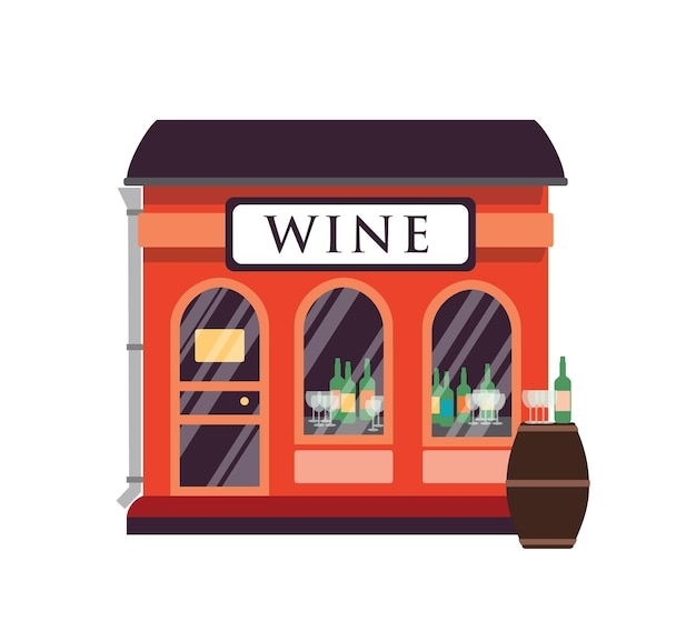Illustrazione piana di enoteca. facciata dell'edificio del negozio di bevande alcoliche con cartello isolato su bianco