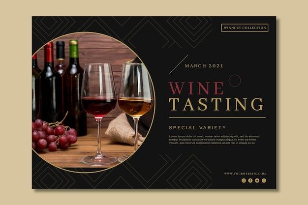 Modello di banner pubblicitario di degustazione di vini