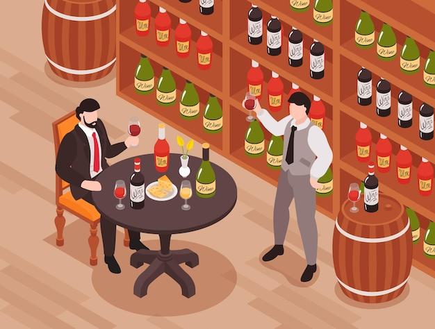 Composizione isometrica della cantina di degustazione di vini con l'assaggiatore del cliente al sommelier del proprietario del tavolo che sta con il bicchiere di vino