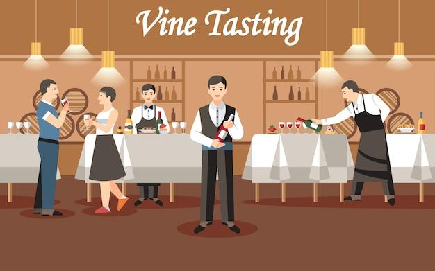 Concetto di degustazione di vini.