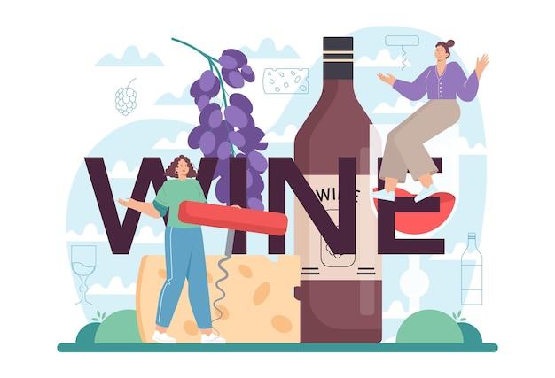Vino intestazione tipografica vino d'uva in bottiglia e bicchiere