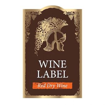 Modello di etichetta di vino vettoriale