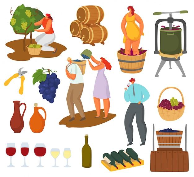 Insieme dell'illustrazione di vino e di vinificazione, raccolta, pressatura, produzione di vino dei caratteri dell'enologo dell'agricoltore