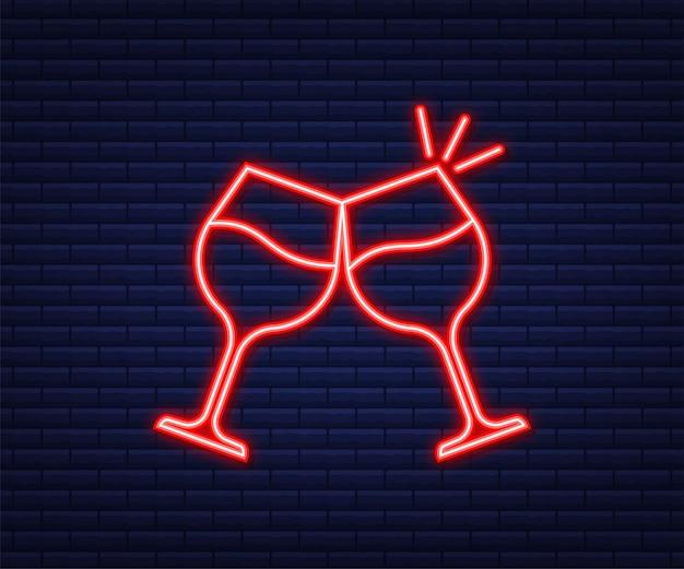 L'icona del bicchiere di vino. simbolo del calice. stile neon. illustrazione vettoriale.