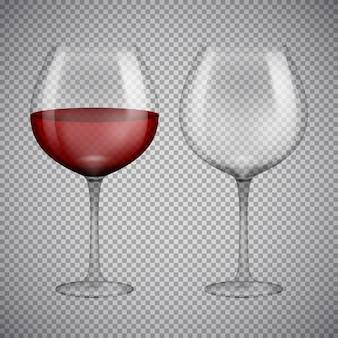 Bicchiere da vino con vino rosso. illustrazione isolato su sfondo.