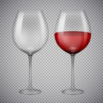 Bicchiere da vino con vino rosso. illustrazione isolata