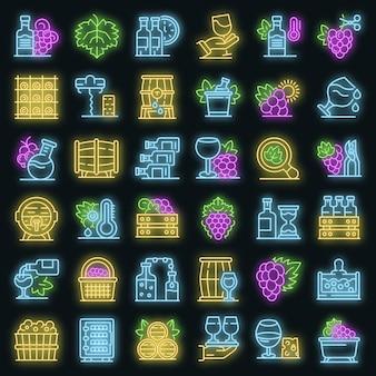 Set di icone di enologo. contorno set di icone vettoriali enologo colore neon su nero