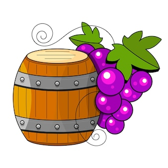 Prodotti di vinificazione in stile schizzo. illustrazione vettoriale con botte di vino, vetro, uva, ramoscello d'uva, caraffa. bevanda alcolica classica.