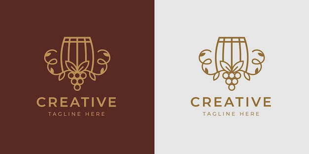 Winery barrel logo design template vector of barrel with branches wine fruit vintage modern icon line design