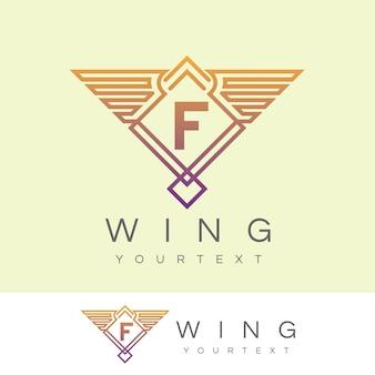 Ala iniziale lettera f logo design Vettore Premium