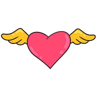 Simbolo del cuore alato di amore libero. emoticon dei cartoni animati. disegno dell'icona scarabocchio, illustrazione vettoriale