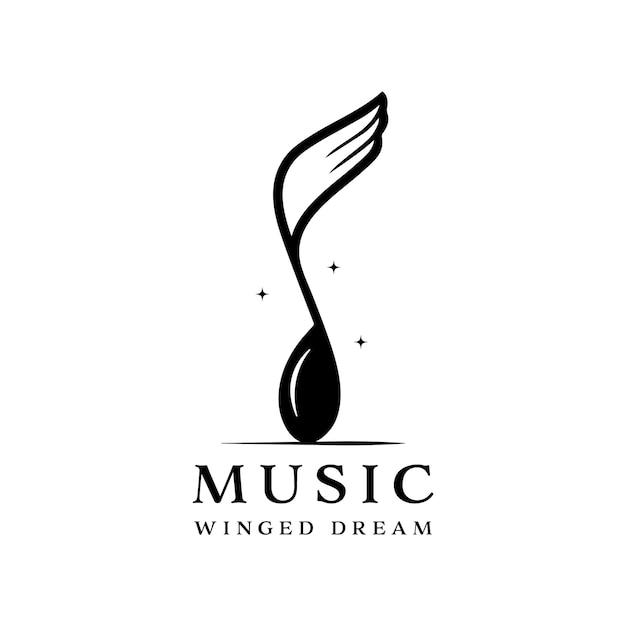 Logo di notazione musicale alato isolato su priorità bassa bianca. combinazione di notazione musicale e ali