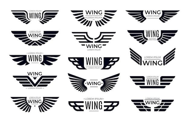 Distintivi di ali. emblema volante, ala di uccello dell'aquila e cornice alata.