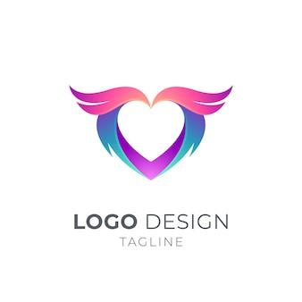 Modello di concetto di logo del cuore di ali
