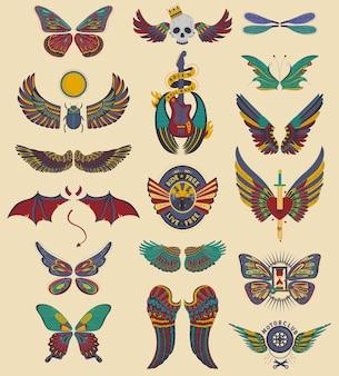 Set di ali di angelo isolato su beige