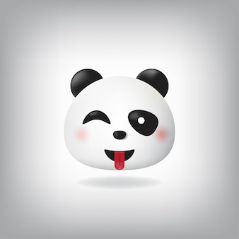 Strizza l'occhio con emoticon tongue face panda