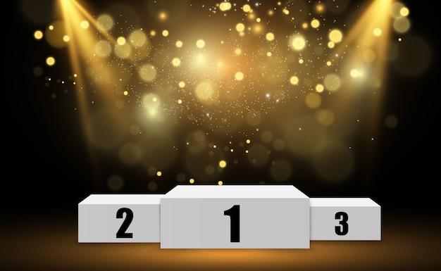 Sfondo vincitore con segni di primo, secondo e terzo posto su un piedistallo rotondo.
