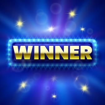 Banner vincitore su sfondo blu con scintille. illustrazione.