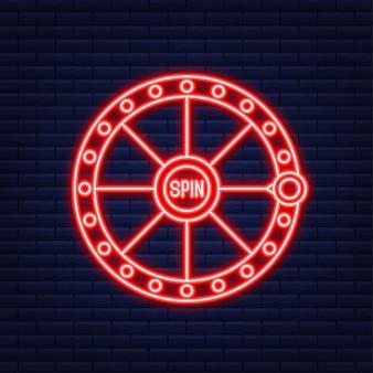 Bandiera del vincitore. slot machine con jackpot lucky sevens. stile neon. illustrazione vettoriale.