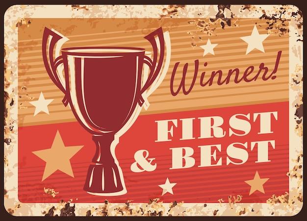 Vincitore congratulazioni vittoria celebrazione arrugginito piastra metallica illustrazione design Vettore Premium