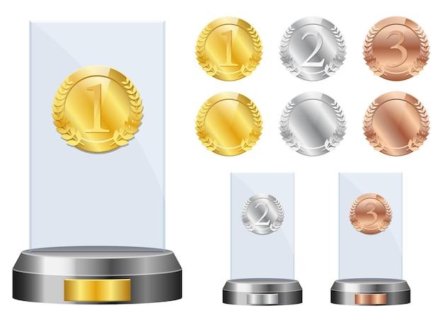 Illustrazione di design del premio di vetro vincitore isolato