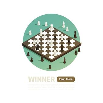 Vincitore isolato composizione isometrica e colorata con titolo del vincitore e partita a scacchi