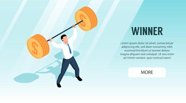 Insegna orizzontale isometrica del vincitore con uomo d'affari che tiene bilanciere pesante