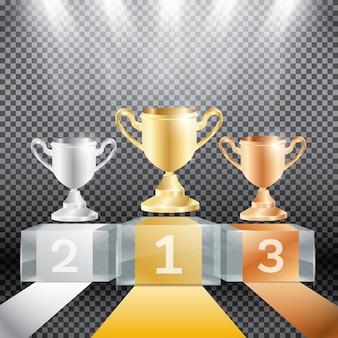 Podio del vincitore con faretti e coppa su sfondo trasparente.