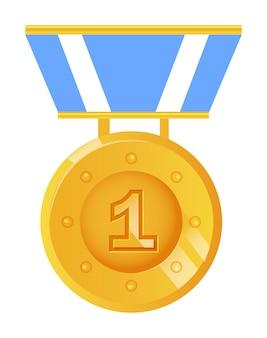 Vincitore ricompensa medaglia d'oro isolato su sfondo bianco