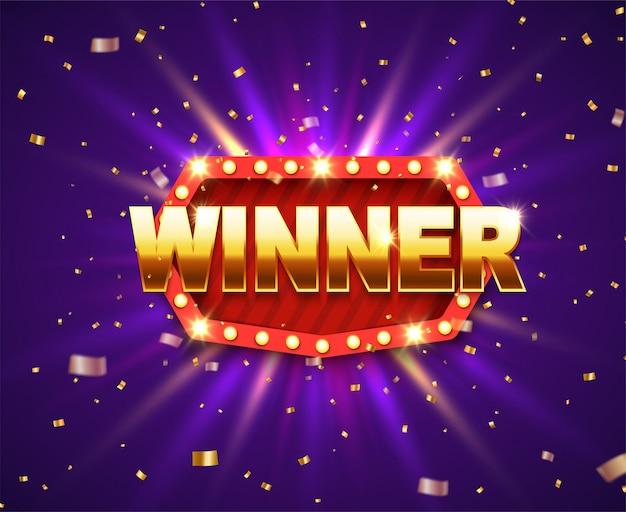 Banner lucido vincitore con lampade incandescenti e glitter oro.