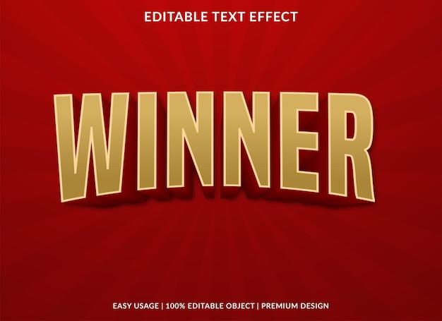 Modello di effetto testo vincitore utilizzare per il logo aziendale e lo stile premium del marchio