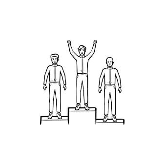 Vincitori sull'icona di doodle di contorni disegnati a mano podio. successo aziendale e sportivo, cerimonia di premiazione, primo concept