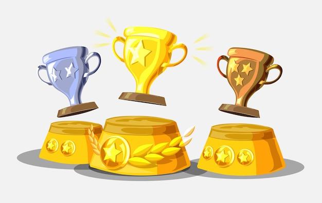 Podio dei vincitori con illustrazione di tazze. premi per i campioni. coppe in oro, argento e bronzo.